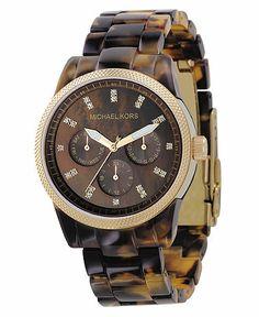 Michael Kors Watch, Women's Chronograph Ritz Acrylic Tortoiseshell Bracelet