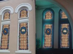 Decorative church window film design with added monticello shaped medallions in church setting Stained Glass Window Film, Church Windows, Window Films, Mansions, House Styles, Gallery, Design, Decor, Mansion Houses