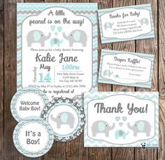 DIY Baby Shower Package - Elephant Baby Shower Blue Elephant Invitations, Books for Baby, Diaper Raf Baby Shower Gift Bags, Baby Shower Games, Baby Boy Shower, Elephant Baby Showers, Baby Elephant, Baby Event, Baby Shower Invitaciones, Pink Invitations, Baby Shower Decorations