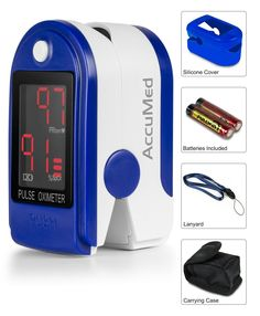 AccuMed® CMS-50DL Pulse Oximeter Finger Pulse Blood Oxygen SpO2 Monitor w/ Carrying case, Landyard Silicon Case and Battery (Blue) *** Click image to review more details.