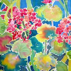 'Geraniums' - by Sue Wierzba | silk