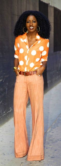 Polka Dot Shirt + Flared Trousers / Style Pantry