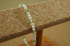 Swarovski crystal and pearl bracelet, Peridot and pearl bracelet, Peridot wedding bracelet, Peridot bridesmaid bracelet
