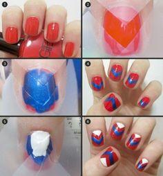 Patriotic tape nails.