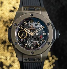 Hublot Big Bang MECA-10 Magic Gold inspired by the Meccano construction toys. Scratch resistant gold, made of 18k gold and ceramic and a movement with twin mainspring barrels that offer a power reserve of 10 days...  Read all about it: http://www.ablogtowatch.com/hublot-big-bang-meca-10-magic-gold-watch/