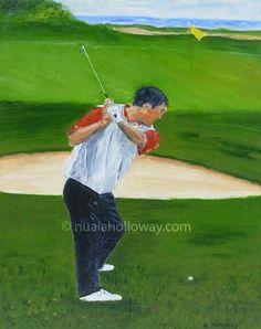 """Seve Ballesteros - Going for a Birdie"" by Nuala Holloway - Acrylic on Board #Seve #Golf #IrishArt"