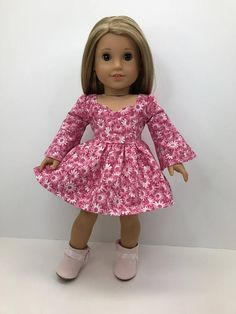 """18 inch, 18"""" doll clothes -Pretty pink and white flowered dress with bell sleeves."""