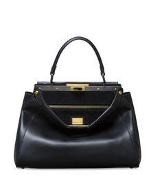 Iconic Peekaboo bag in black leather | Fendi