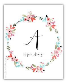 Custom Monogram Name print of watercolor wreath by VictoryDay