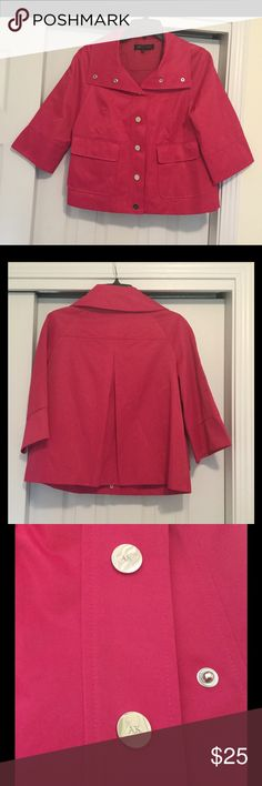 Anne Klein Cropped Jacket In EUC, No rips, stains or tears. A hot pink cropped jacket by Anne Klein. AK on all of the silver snap closure buttons down the front. Two snap closure pockets in front. Anne Klein Jackets & Coats