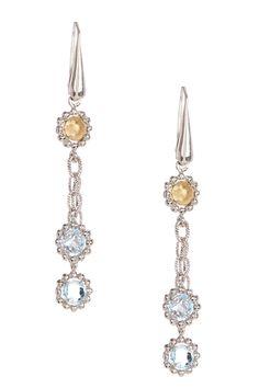 Two-Tone Blue Topaz Fancy Drop Earrings