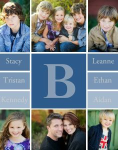 Family Monogram Print TEMPLATE: 111394 By Leanne Reist-Barr 11 x 14 Print  Create beautiful decor for your home or office while displaying multiple pictures of your loved ones with this simple print. Add your family's monogram and names to personalize it even more.