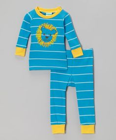 Take a look at the Turquoise & Yellow Stripe Lion Pajama Set - Infant on #zulily today!