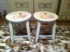 Decoupage and hand painting.