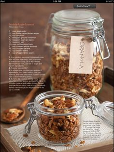 Double Apple Granola Recipe: has pecans, almonds, dried apples, sesame seeds and apple cider