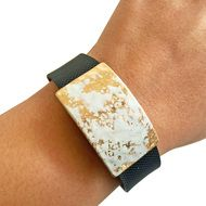 Charm to Accessorize the Fitbit Flex, Fitbit Charge, Charge HR, Garmin Vivofit, Vivosmart, Vivosmart HR, Jawbone Up, or Xiaomi Mi - The ROXANNA Charm in Hammered White and Gold to Dress Up Your Favorite Fitness Tracker by Funktional Wearables.