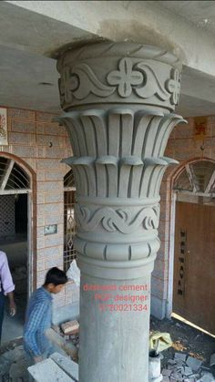 Arch Designs For Hall, House Pillars, Pillar Design, Pop Design, Cement, Greek, Statue, Greece, Sculptures