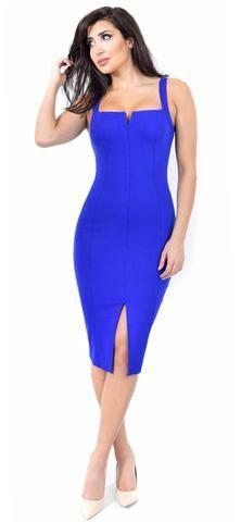 Carla Royal Blue Front Slit Dress
