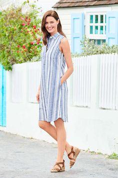 5ffd46717b Striped Sleeveless Print Linen Blend Shirt Dress from Lands' End   The  perfect breezy summer