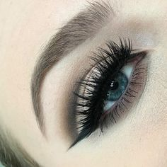 A little cut crease and winged liner inspo  courtesy of @jennynilssons in our #StarletLashes   Makeup Details: #AnastasiaBeverlyHills Brow Definer Taupe, Brow Powder Medium Brown, Single Eyeshadows Night Sky, Warm Taupe, Bone, Waterproof Crème Color Jet, #HouseOfLashes Starlet  #houseoflashes #lashgamestrong #lashfocus #wingedliner #cutcrease #blueeyes