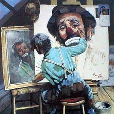 Norman Rockwell - Emmett Kelly take-off on self-portrait of the artist. Must go to the Rockwell Museum in Stockbridge, MA again this summer. Peintures Norman Rockwell, Norman Rockwell Art, Norman Rockwell Paintings, Art And Illustration, Clown Paintings, L'art Du Portrait, Portraits, Le Clown, Circus Clown