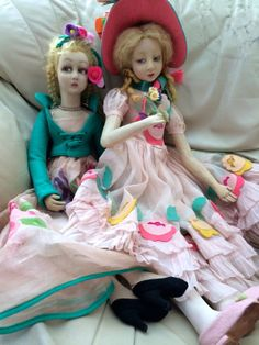 "Two Vintage Lenci Boudoir Dolls 27 30"" ... love their dresses!!"