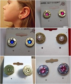 Classy gun shell stud earrings. What's your favorite color? or your Birthstone. I will make them for you.  Don't forget Birthdays and Christmas (131day) go ahead and get started.  Annie