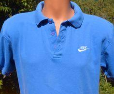vintage 80s NIKE shirt polo golf swoosh royal blue by skippyhaha, $18.00