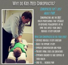 Common #childhood #conditions that families have seen great impact from #chiropractic #care that you may not have thought of as chiropractic issues. #Chiropractors do not necessarily treat or cure these conditions, but they have been shown to help in profound ways by treating the children suffering from them and enhancing their general health. Follow the list below  ADHD & Autism Spectrum Disorders* Ear infections Common Cold Colic Constipation Growing pains Plagiocephaly Scoliosis Bed wetti