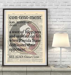 """Florida State Seminoles inspired """"Contentment"""" ART PRINT The definition of a sports fan's contentment is when his/her team is dominating their opponent! A perfect gift for your sports lover, a wedding"""