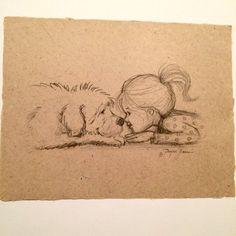 dog sketch Little girl and her dog Nose to nose Pencil Sketch Tattoo Kind, Tatoo Dog, Dog Tattoos, Animal Tattoos, Body Art Tattoos, Pencil Art Drawings, Art Drawings Sketches, Cute Drawings, Drawing Faces