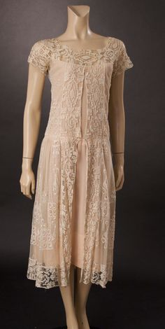 1920's ivory lace and net dress with pink silk crepe underneath.