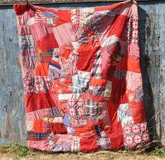 Vintage crazy quilt | Vintage Crazy Quilt Handmade in 70s Red Prints Stripes Corduroys
