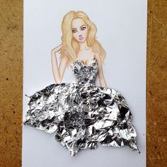 Armenian fashion illustrator Edgar Artis uses stylized paper cut outs and everyday objects to create beautiful dresses. His creative fashion sketches include such items as rose petals, various plants and food, even buildings. Dress Design Sketches, Fashion Design Drawings, Fashion Sketches, Dress Designs, 3d Fashion, Ideias Fashion, Paper Fashion, Artist Fashion, Fashion Illustration Dresses