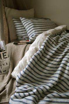 French Vintage inspired navy ticking linen quilt/ duvet/