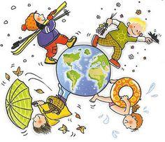 иллюстрация - к теме Seasons Months, Four Seasons, Learn Greek, Busy Board, Drawing For Kids, Clipart, Kindergarten, Preschool, Kids Rugs