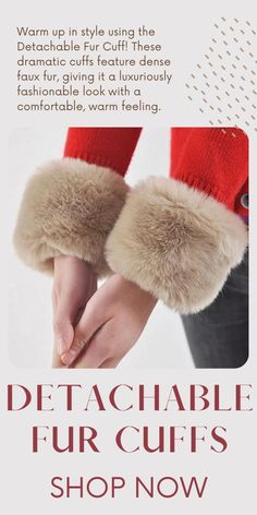 Warm up in style using the Detachable Fur Cuff! These dramatic cuffs feature dense faux fur, giving it a luxuriously fashionable look with a comfortable, warm feeling. Currently 50%OFF with Free Shipping!! Only on Neulons.com Color Pick, Winter Sale, Fur Slides, Stay Warm, Faux Fur, Cuffs, Valentines, Footwear, Gift Ideas