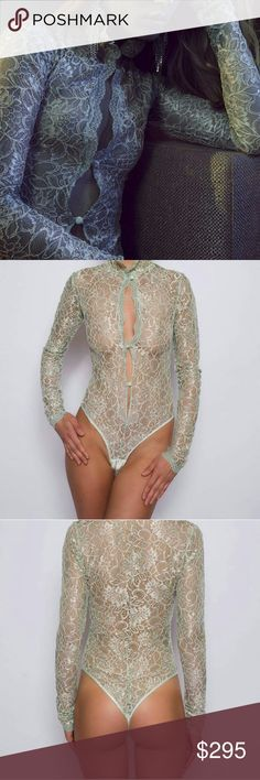 Lace Bodysuit Handmade elegant Jade color bodysuit with matching silk trim and buttons. Brand new, used as display for high end fashion events. Looks great paired with jeans, pencil skirt or as lingerie. Can transform from day to night. Romantically beautiful! Sonatas Rapalyte Other