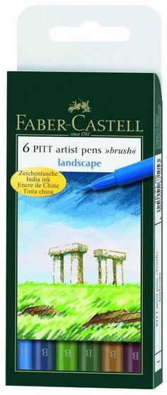 Faber Castell Pitt Artist Pens Landscape Colors Set 6 Markers Brush Tip | eBay
