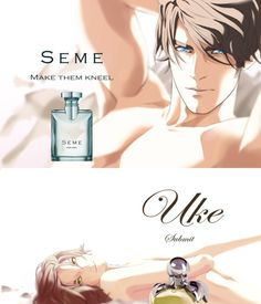 "The new fragrance from ""Yaoi"" Manga Anime, All Anime, Anime Guys, Anime Nerd, Yuri, Seme Uke, Ai No Kusabi, Levi X Eren, Stuff And Thangs"