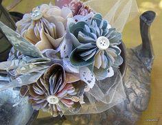 Origami Nosegay Toss Bouquet 6 Flowers by GracelinePaperStudio, $19.00