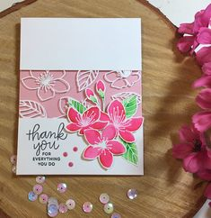 Sharing a card I made that I shamelessly copied from a @prettypinkposh designer named Gemma @lollipolly I used the Cherry Blossom stamp set…
