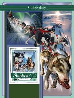 MLD17103b Sledge dogs (Siberian Husky) Husky, Pandora, Dogs, Stamps, Art, Seals, Pet Dogs, Doggies, Kunst