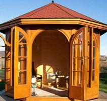 Rotating log pavilion in Fife, Scotland