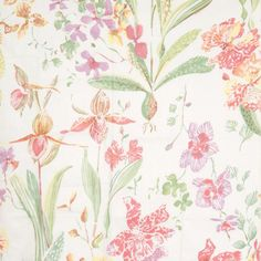 So pretty! Collier Campbell Field Orchid coral garden glazed cotton now in stock!