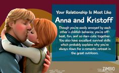 I got Anna and Kristoff. Although Jasmine and Aladdin is totally our Disney soul couple
