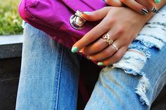 LOVE ring and ripped jeans