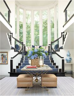 Blue Foyer.. crazy stairs