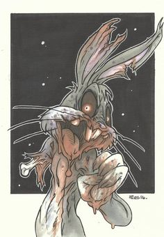 Bugs Bunny Zombie Piers Hazell on We Heart It Zombie Drawings, Badass Drawings, Trippy Drawings, Dark Art Drawings, Cartoon Drawings, Cartoon Art, Time Cartoon, Cartoon Illustrations, Cartoon Characters