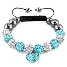 Pugster Love Heart Crystal Blue Black Shamballa Bracelet Disco Ball Beads Gifts | eBay